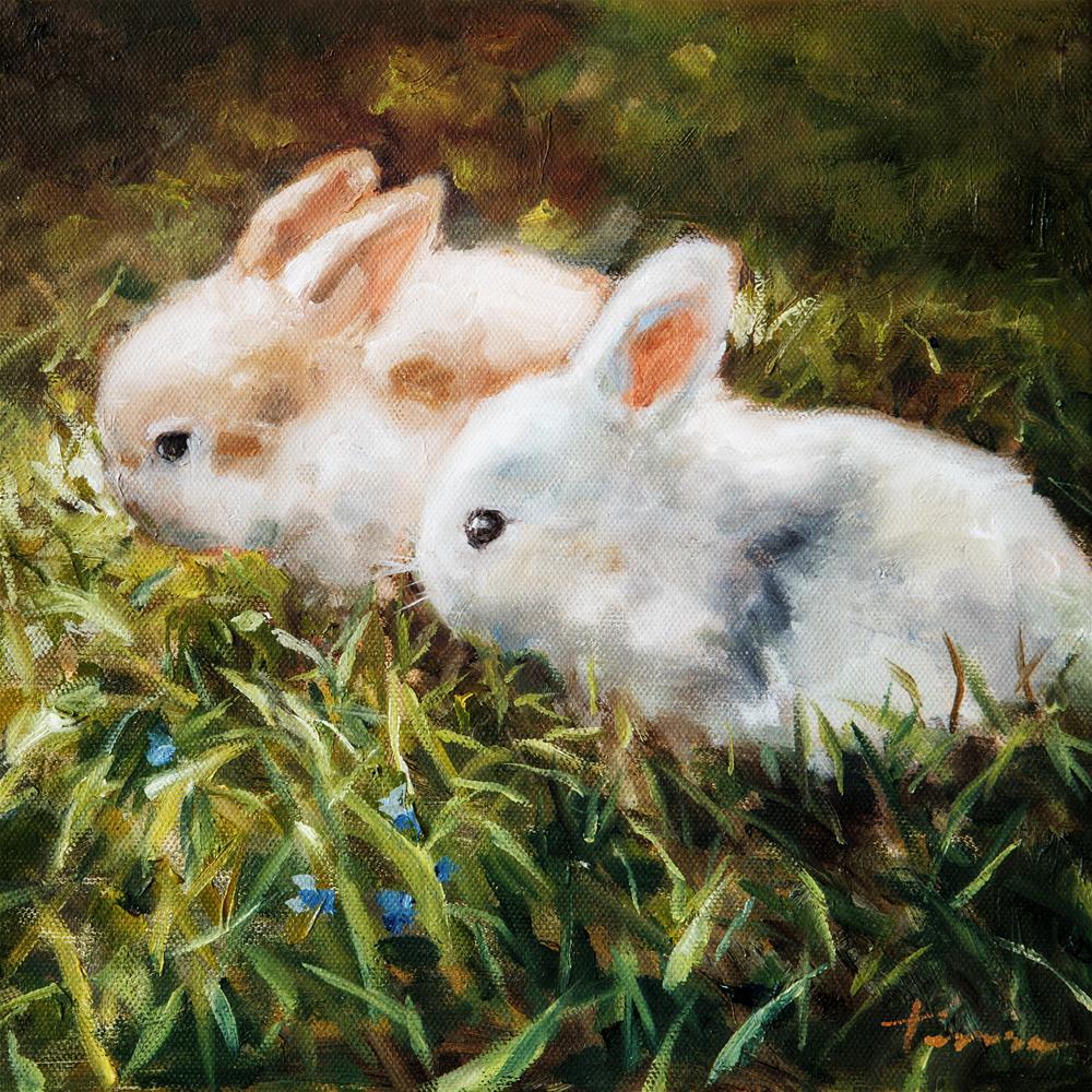 """Twin Rabbit"" original fine art by Teresa Yoo"