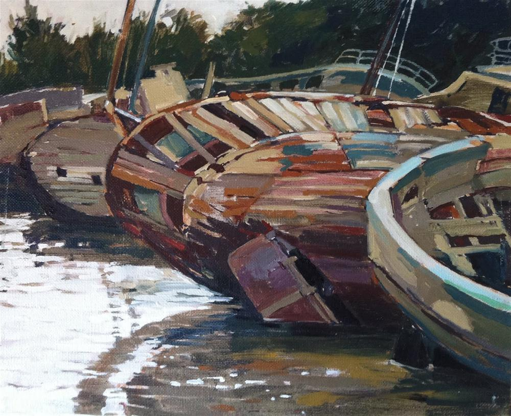 """Shipwrecks at Douarnenez"" original fine art by Haidee-Jo Summers ROI"