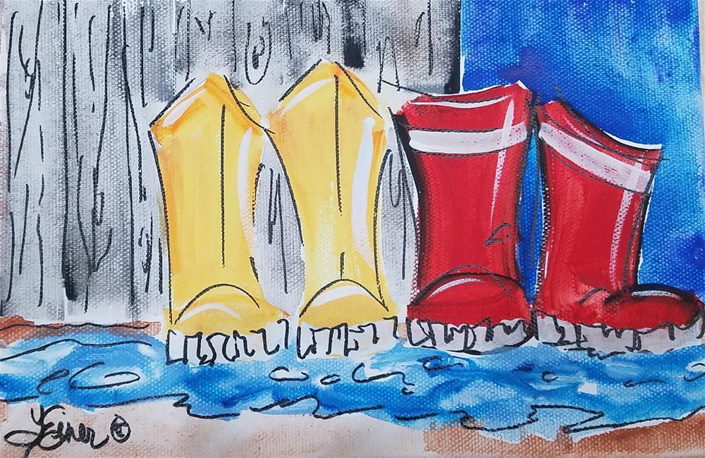 """""""Chunky Rainboots 684"""" original fine art by Terri Einer"""