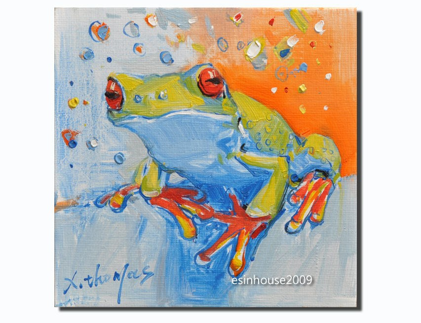 """frog Amphibians tree frog original oil painting art The only version"" original fine art by Thomas Xie"