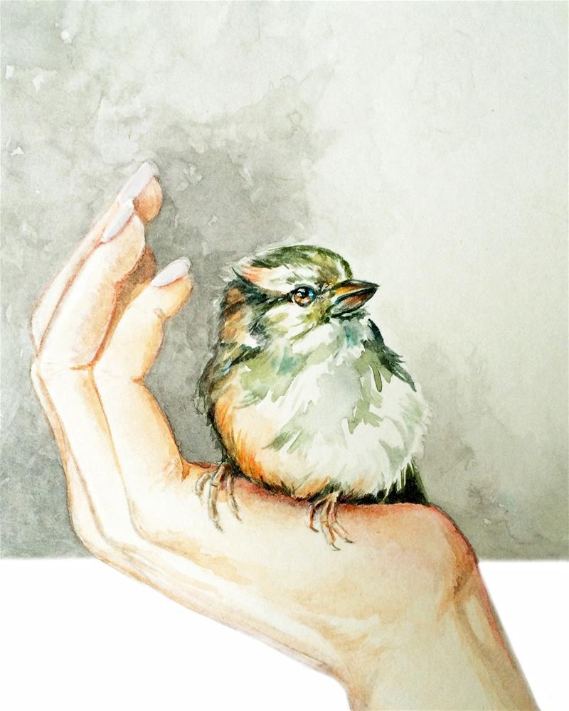 """""""Bird in the Hand"""" original fine art by Christy Obalek"""