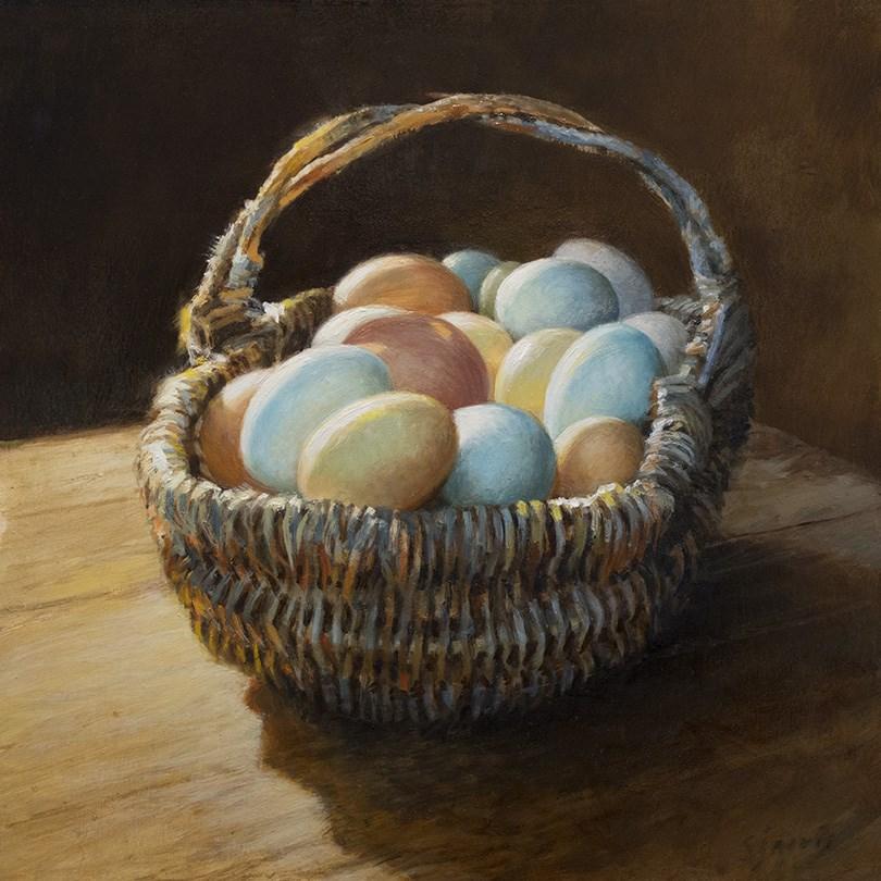 """""""Eggs in a Basket 2"""" original fine art by Susan N Jarvis"""