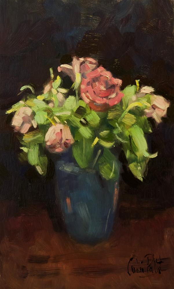 """Roses in Blue Vase"" original fine art by Andre Pallat"