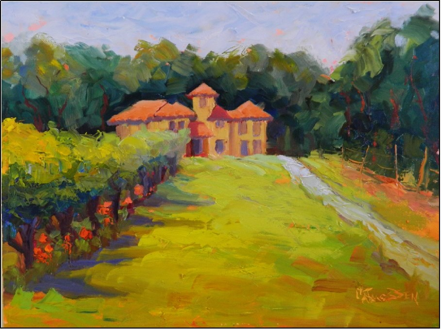 """Summer Vineyard, 12x16, plein air, North Carolina plein air, Morgan Ridge Vineyards, winery, viney"" original fine art by Maryanne Jacobsen"