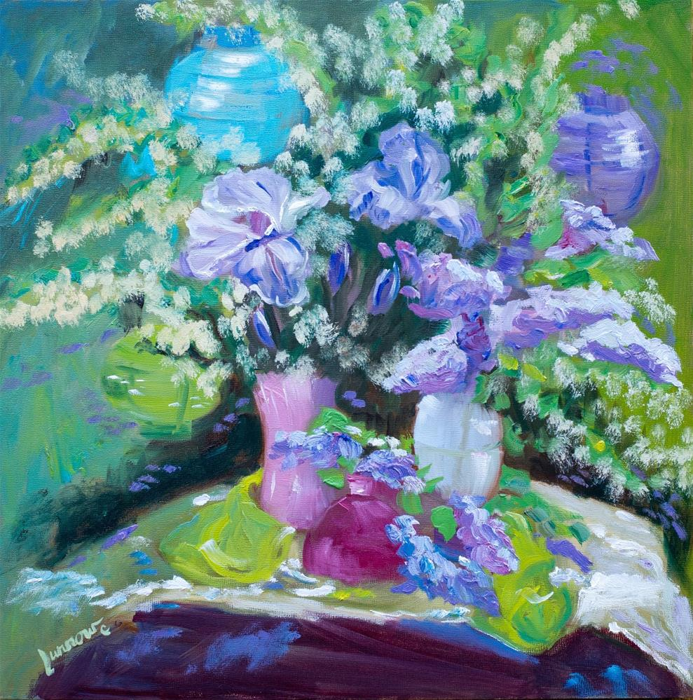 """""""Lesson #1 is painted on a deep cradled panel, 18 sq. The first time I ever painted a floral outside. Heaven."""" original fine art by Sue Furrow"""