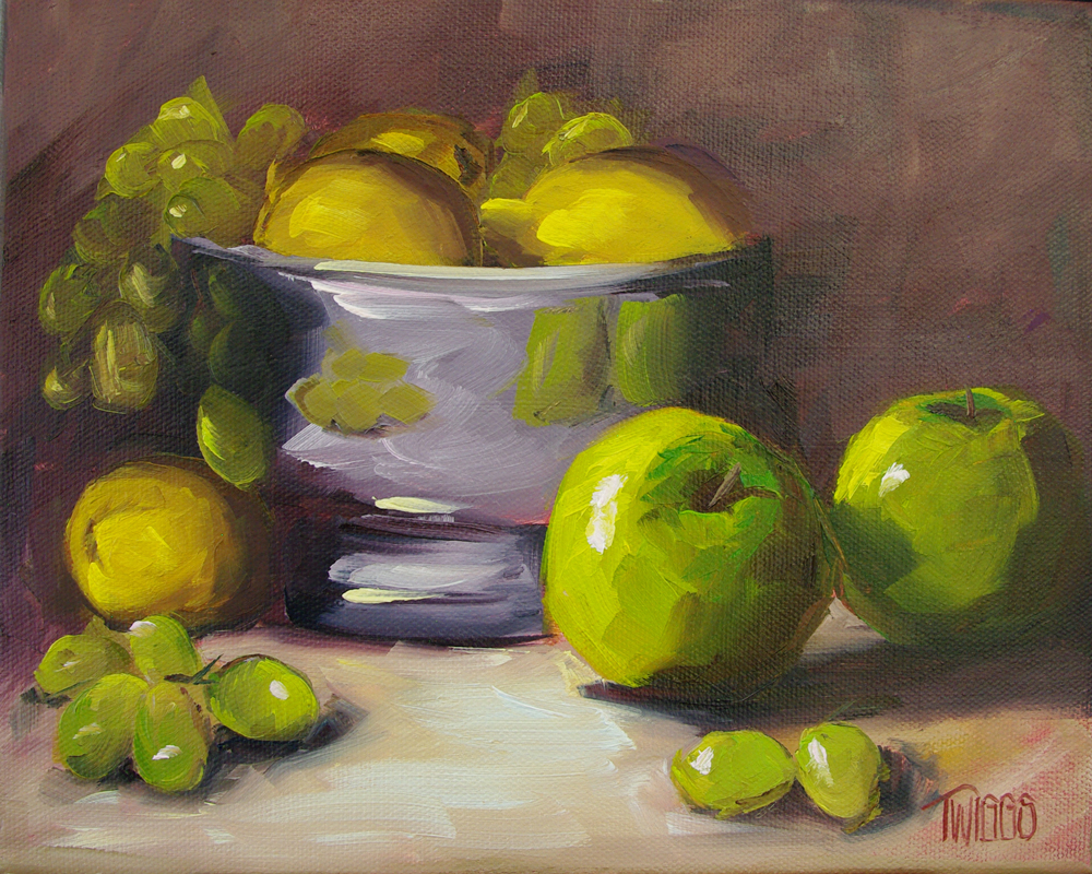 """Green Apples & Lemons"" original fine art by Lori Twiggs"