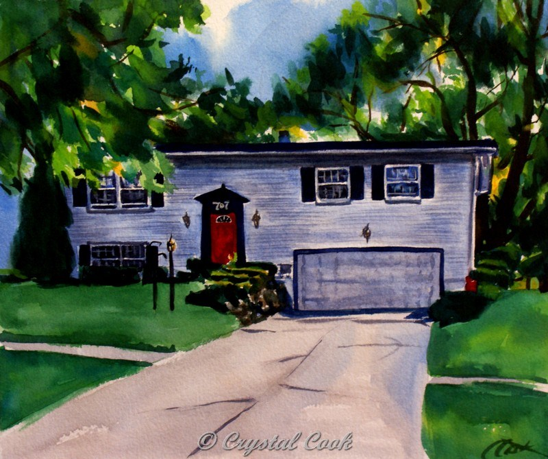 """The House With The Red Door"" original fine art by Crystal  Cook"