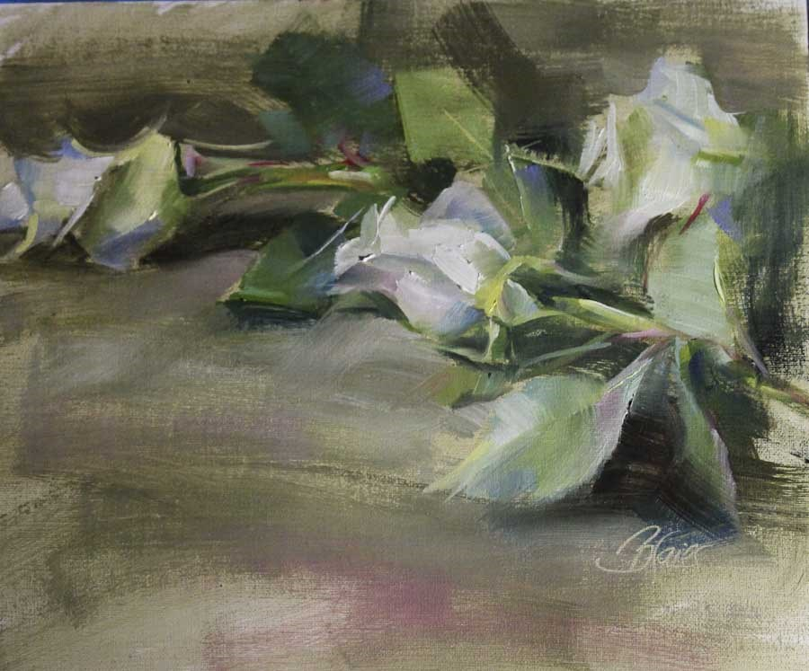 """White Roses Study"" original fine art by Pamela Blaies"