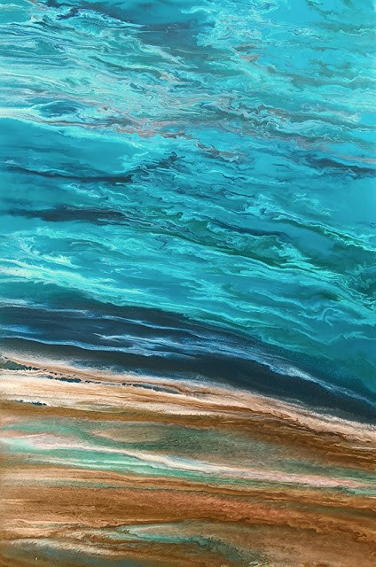 """Contemporary Abstract Seascape, Beach Painting, Fine Art, Coastal  Beautiful Storm Speaks II by In"" original fine art by Kimberly Conrad"