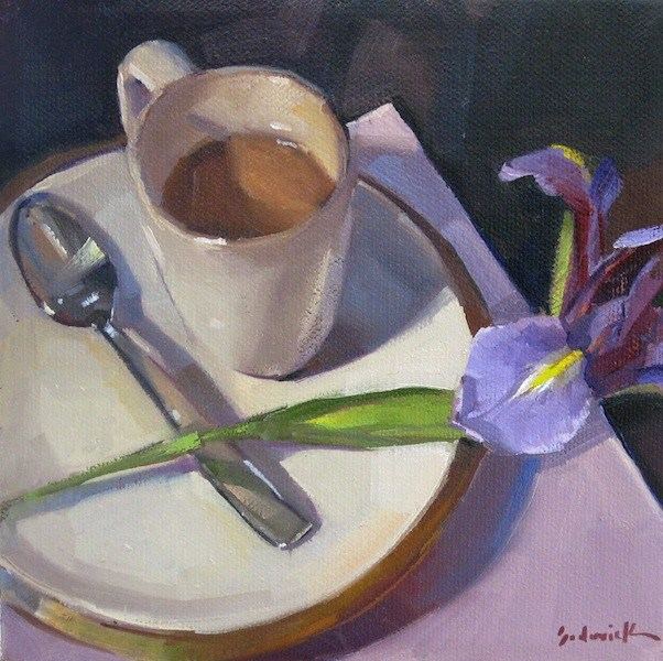 """Morning Coffee with Iris still life oil painting floral"" original fine art by Sarah Sedwick"