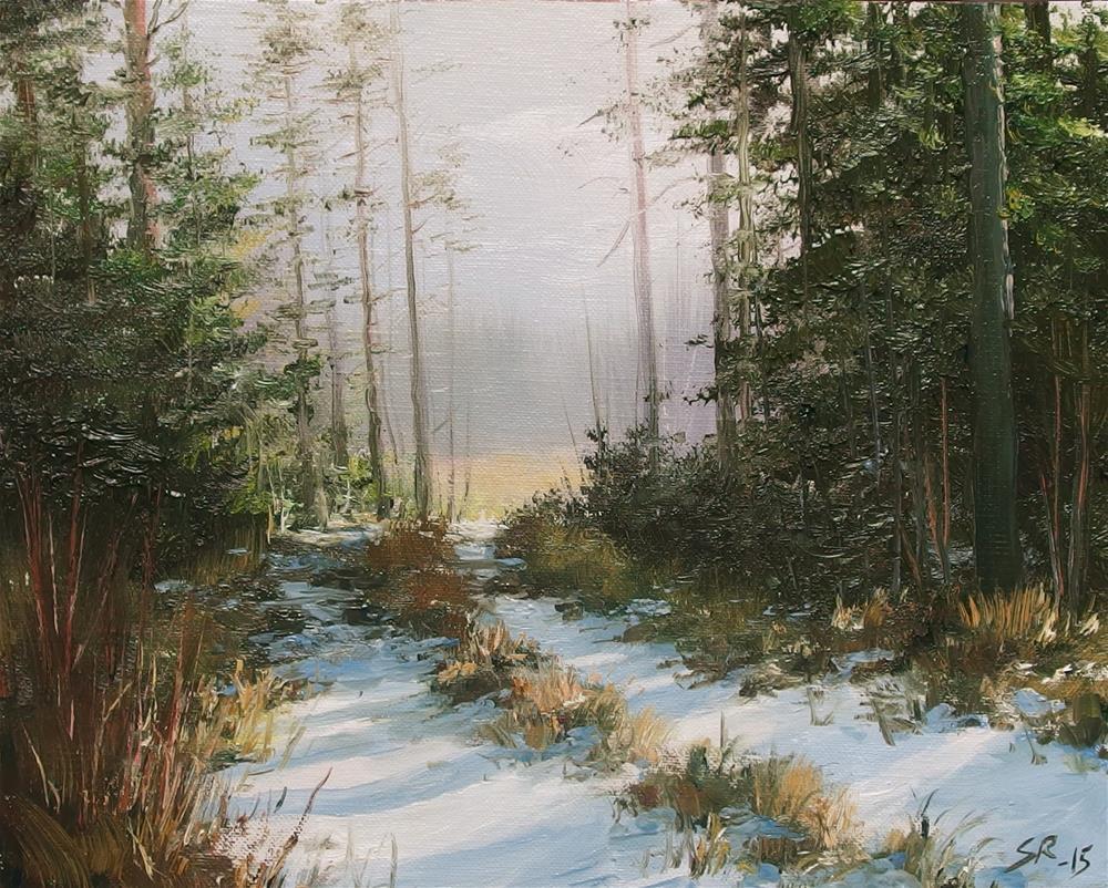 """""""Thru the woods"""" original fine art by Stig Rosenlund"""