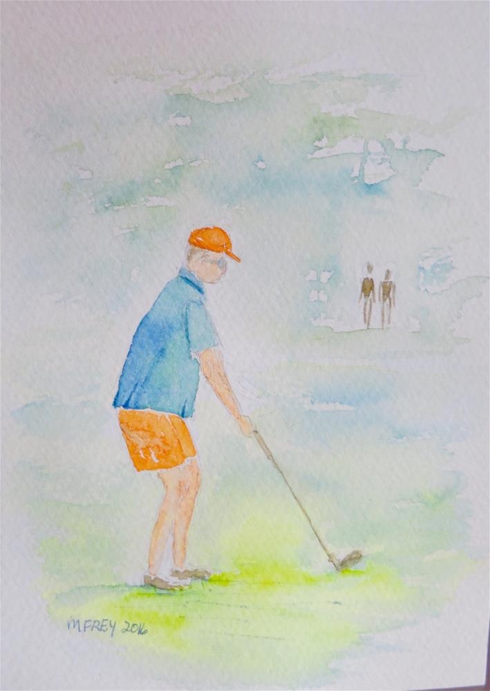 """Golfer 0105"" original fine art by Michelina Frey"