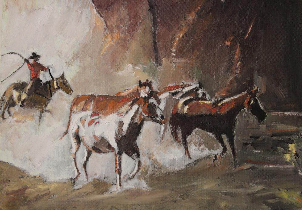 """Wild Horses #8 (8 x 10 Oil on canvas sheet - no frame)"" original fine art by Ramon DelRosario"