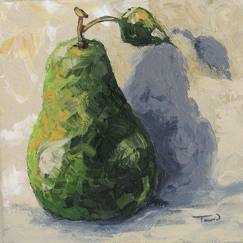 """Green Pear and Shadow"" original fine art by Torrie Smiley"
