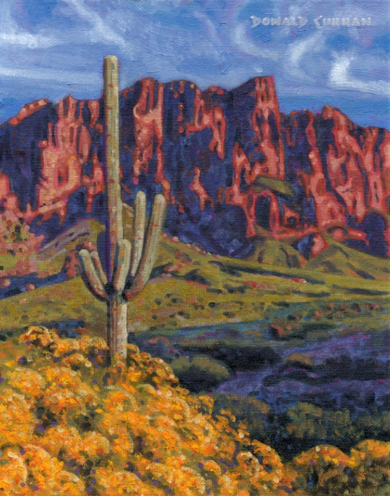 """Superstition Mountains"" original fine art by Donald Curran"