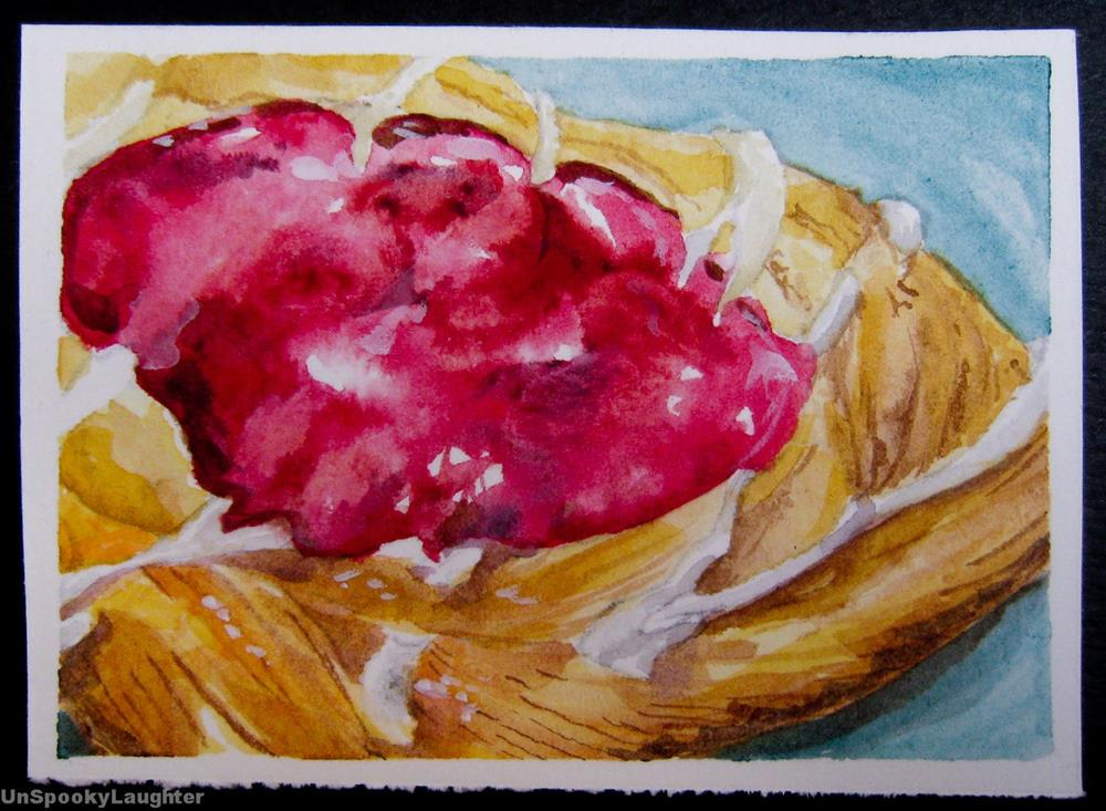 """Cherry Danish ACEO"" original fine art by A.E.E. Miller"