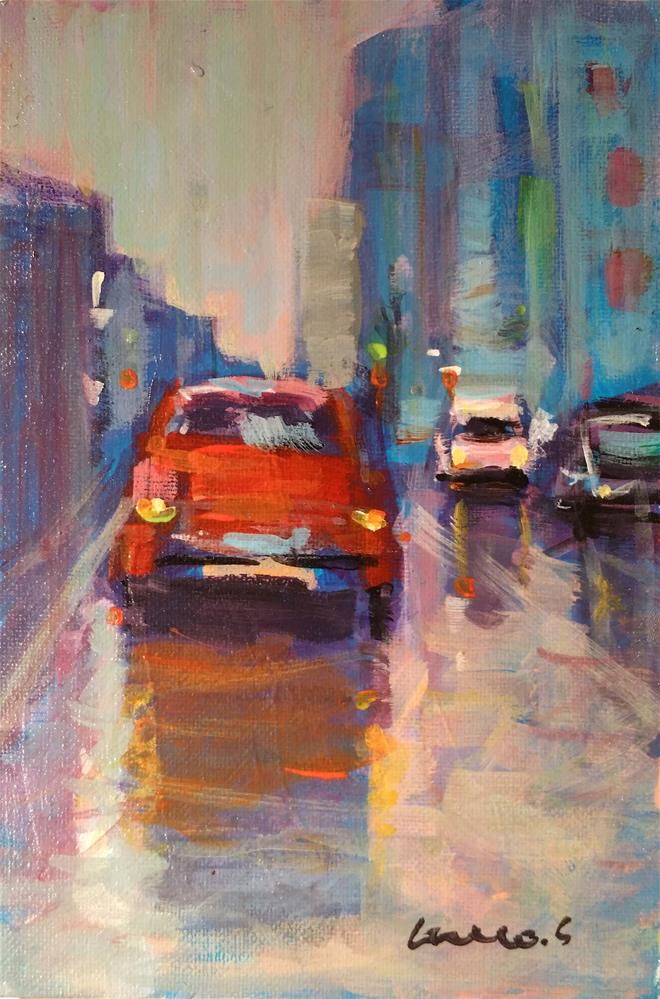 """red car"" original fine art by salvatore greco"