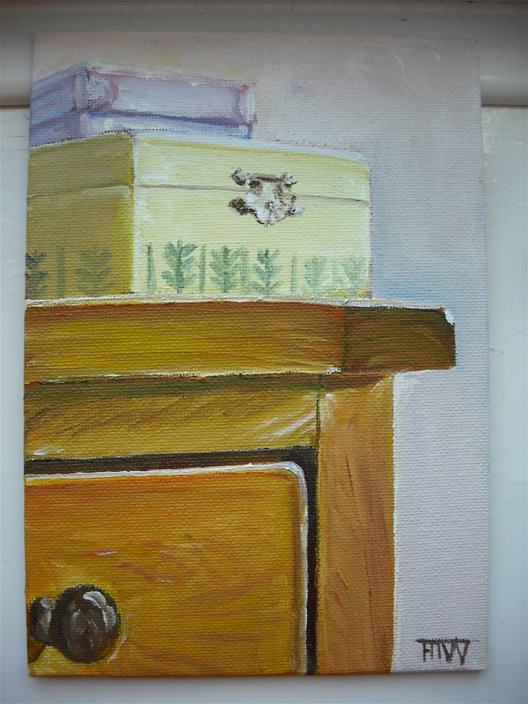 """Jewellery Boxes On Dressing Table"" original fine art by Heather Whiting"