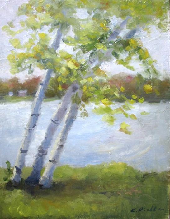 """""""Aspens by a Lake"""" original fine art by Keiko Richter"""