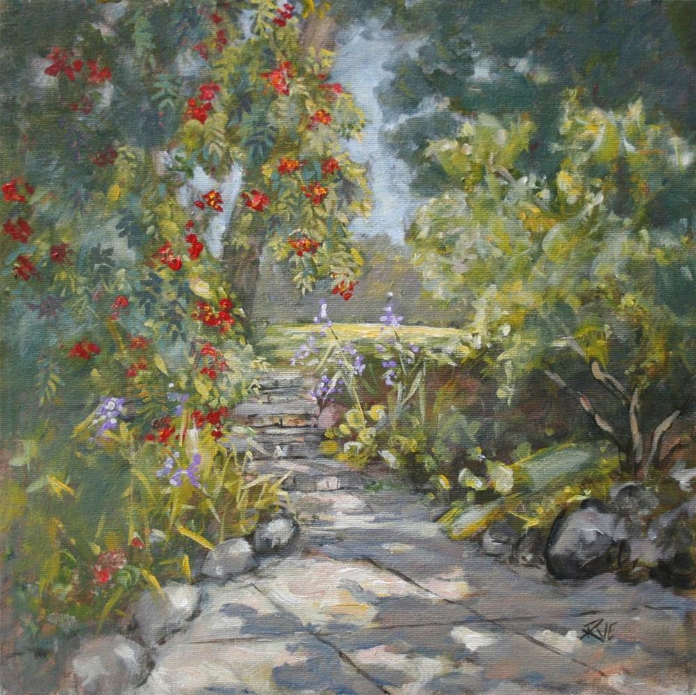 """The garden in August"" original fine art by Ruth Van Egmond"