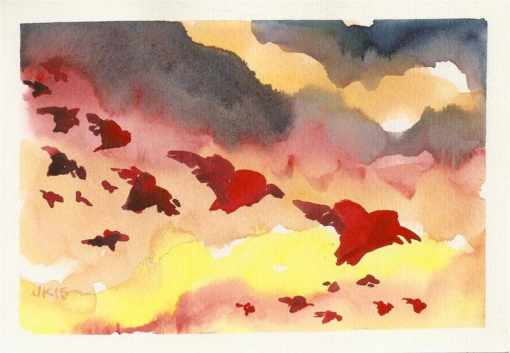 """Hearts Flying Home to Roost"" original fine art by jean krueger"