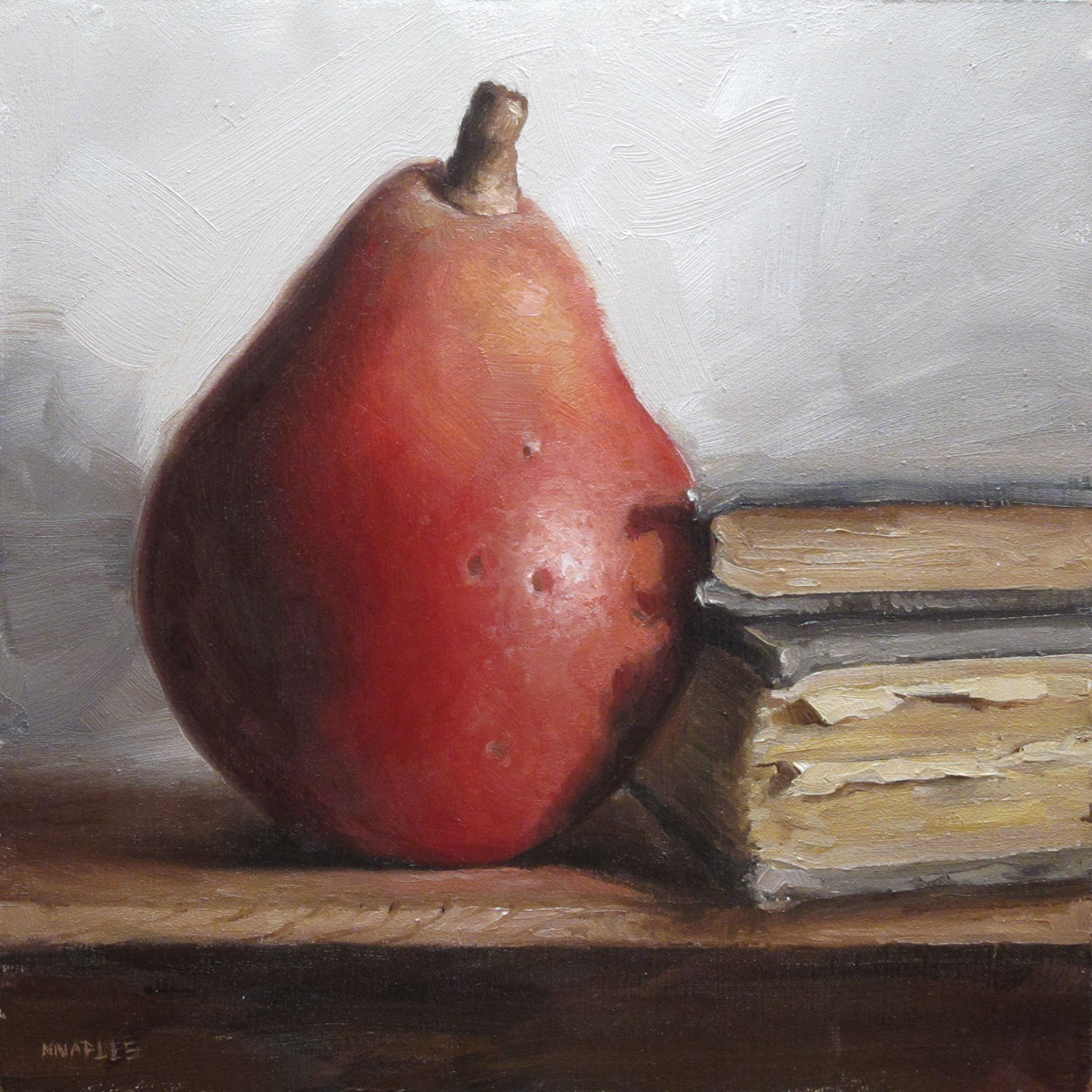 """Red Pear with Books"" original fine art by Michael Naples"