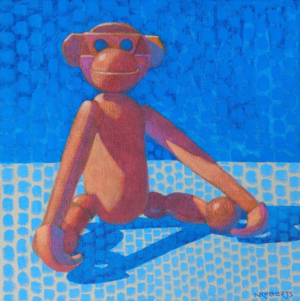 """""""Cheeky Enjoys a Quiet Moment"""" original fine art by Nancy Roberts"""