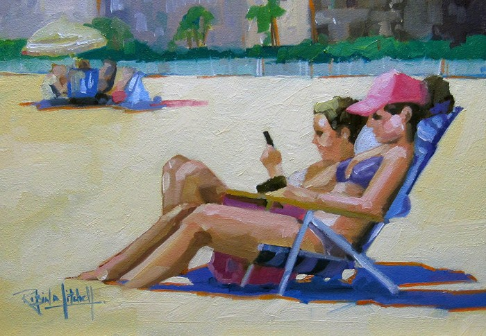 """No 548 Reading and Texting!"" original fine art by Robin J Mitchell"