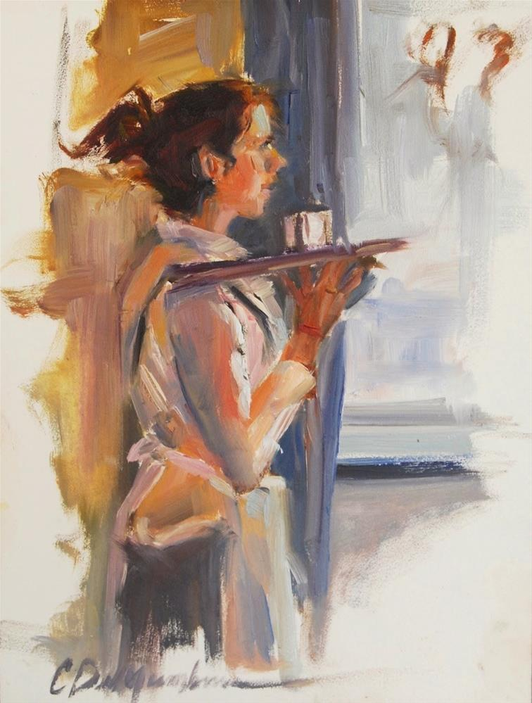 """Waitress,  30 in 30 Challenge"" original fine art by Carol DeMumbrum"
