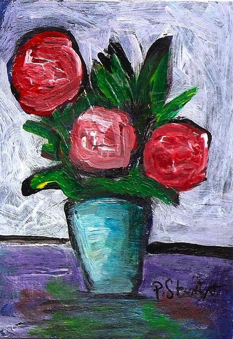 """ACEO 3 Red Roses Expressionistic Style Original Art OOAK SFA Penny StewArt"" original fine art by Penny Lee StewArt"
