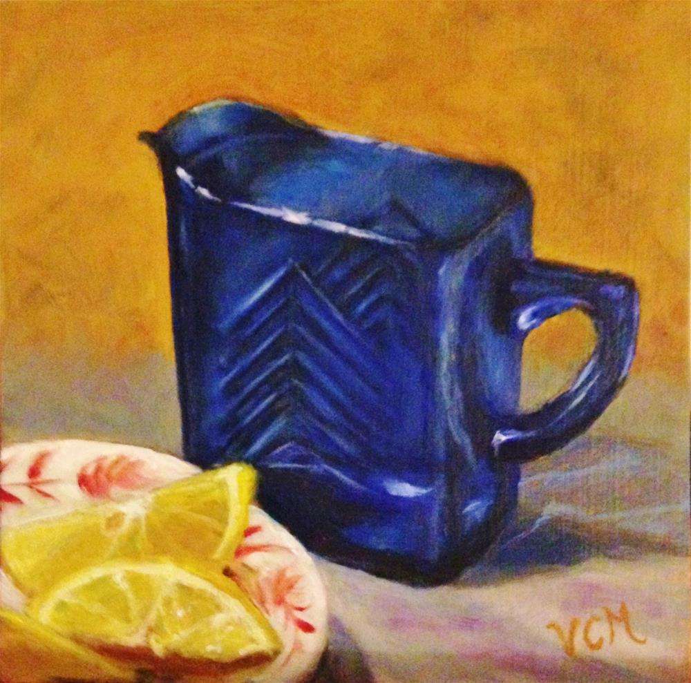"""Still Life with Cobalt Creamer & Lemons"" original fine art by Vana Meyers"