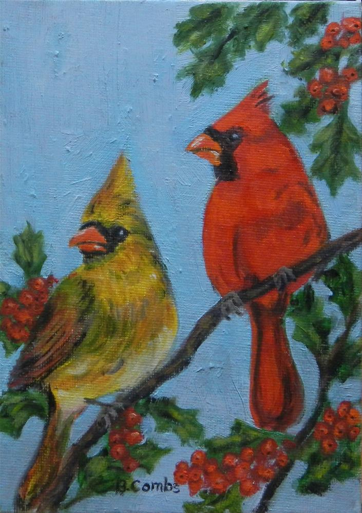 """Pair of Cardinals"" original fine art by Bebe Combs"