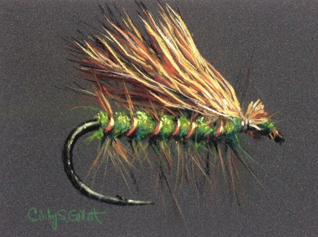 """Fly 16 - Olive Elk Hair Caddis"" original fine art by Cindy Gillett"