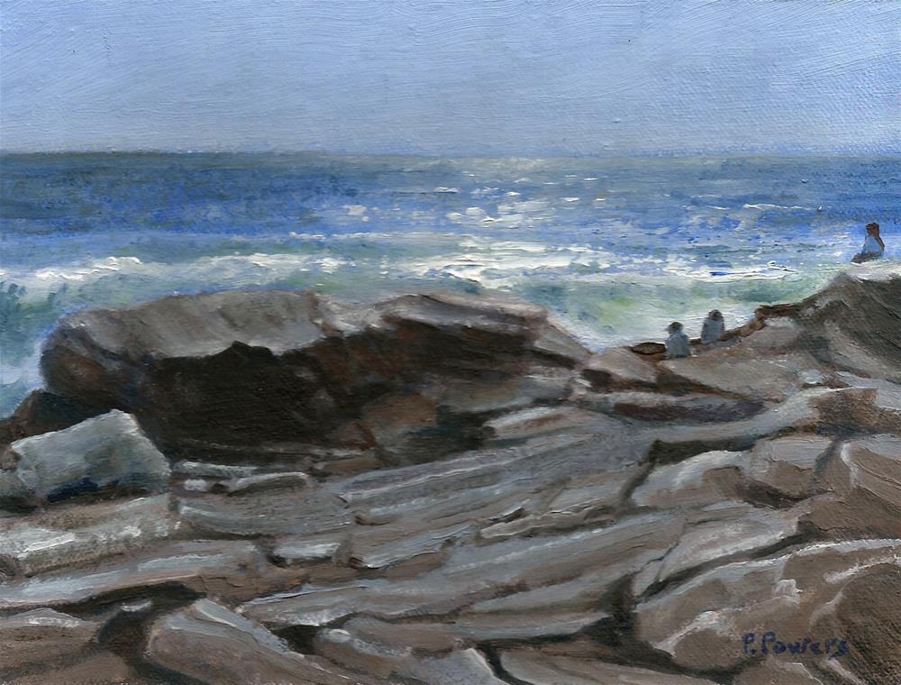 """On Pemaquid Rocks"" original fine art by Patricia J. Powers"