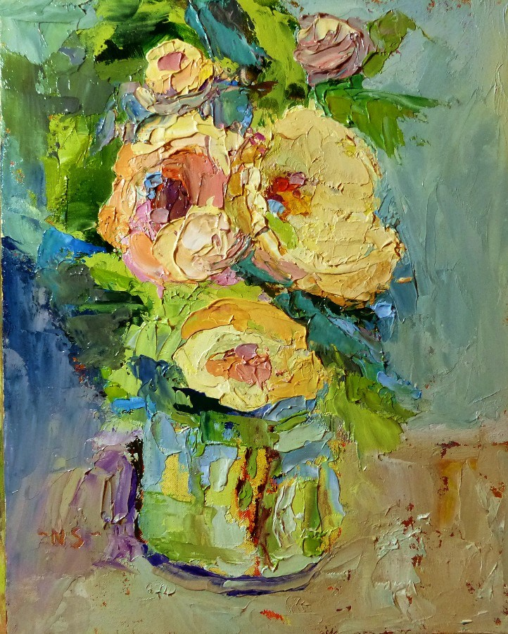 """Last Flowers, 13001  SOLD"" original fine art by Nancy Standlee"
