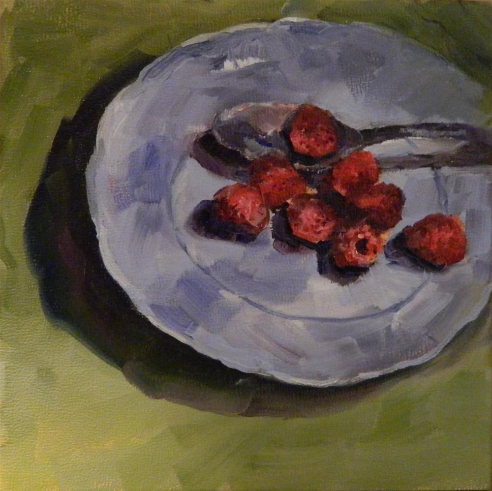 """Red Raspberries"" original fine art by Debra Shore"