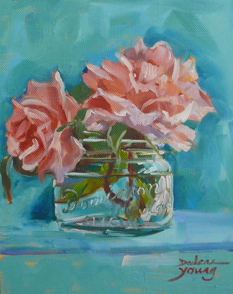 """834 Canada Day Roses, oil on board, 8x10"" original fine art by Darlene Young"
