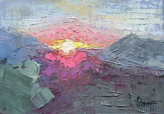 """Small Oil Abstract Landscape, Mountain Sunset 4x6"" original fine art by Carol Schiff"