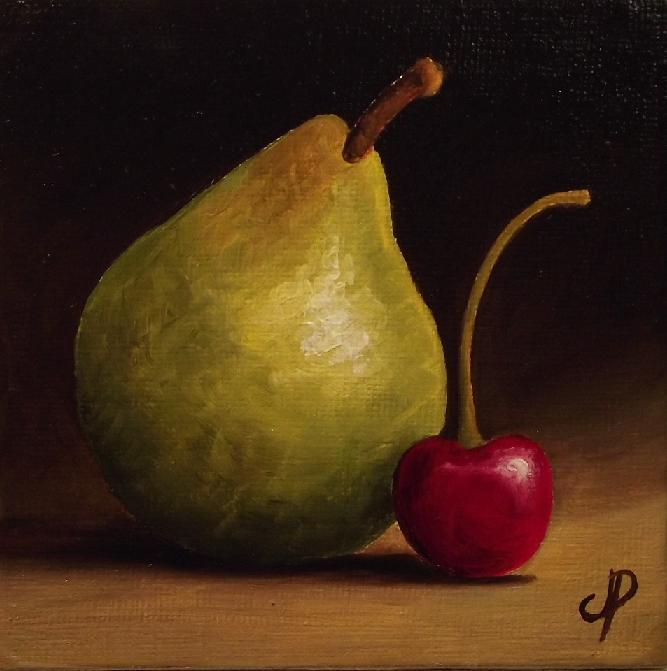 """Pear and Cherry Video"" original fine art by Jane Palmer"