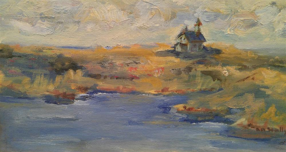 """North Light Block Island"" original fine art by angela scully"