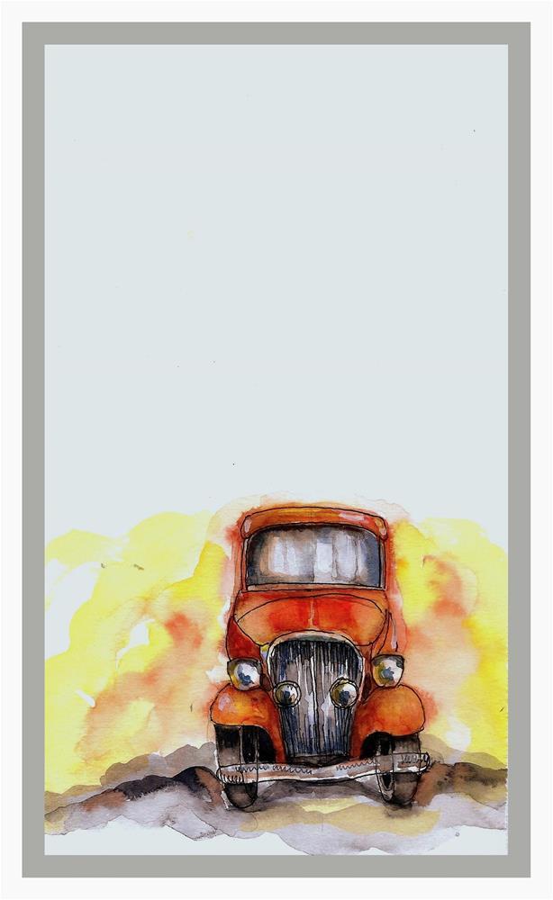 """I am an Orange Vintage car"" original fine art by Asha Shenoy S"