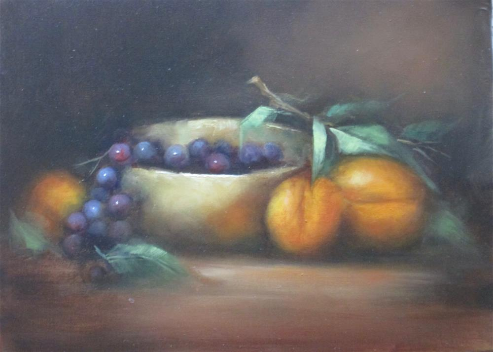 """Apricots and Silver"" original fine art by Barbara Wagner"