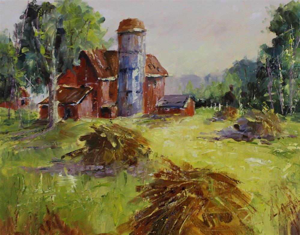"""Oil haystack red barn meadow rural country landscape painting"" original fine art by Alice Harpel"