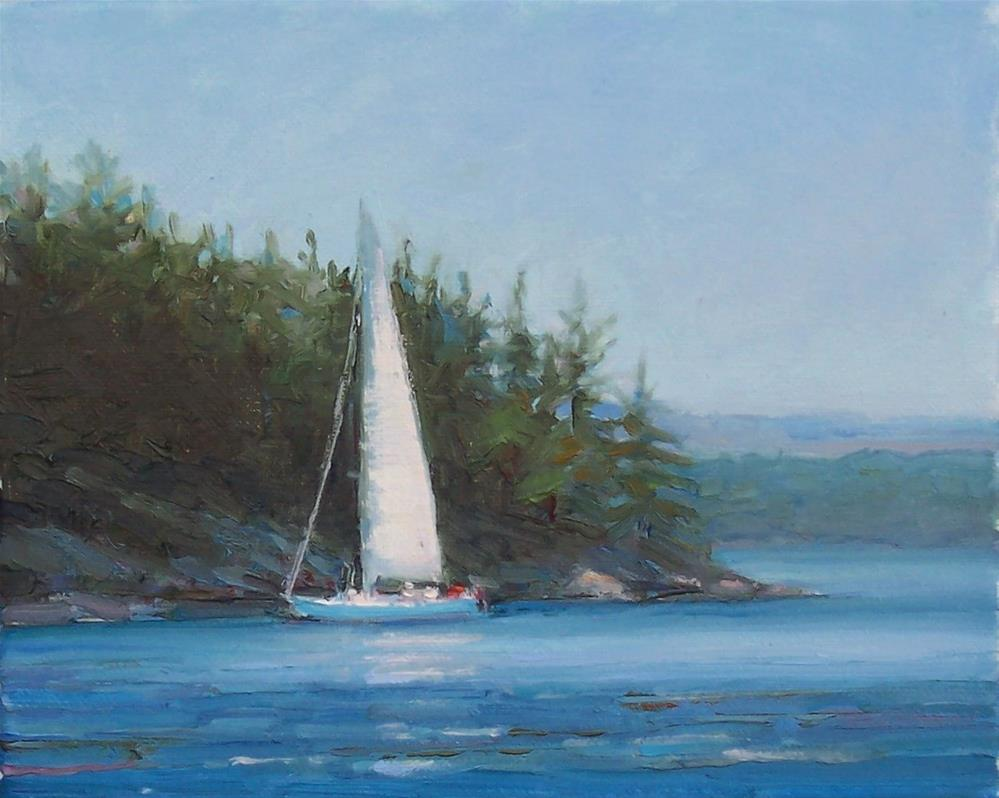 """Sailing Off the Islands,seascape,oil on canvas,8x10,price$400"" original fine art by Joy Olney"