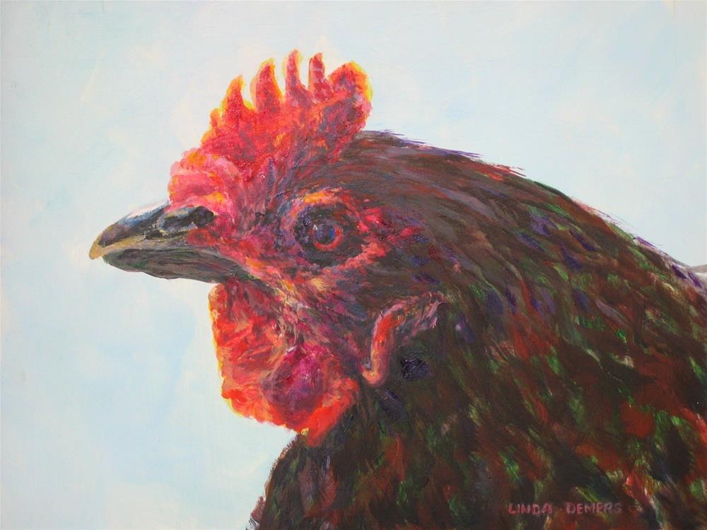 """Rooster_3"" original fine art by Linda Demers"