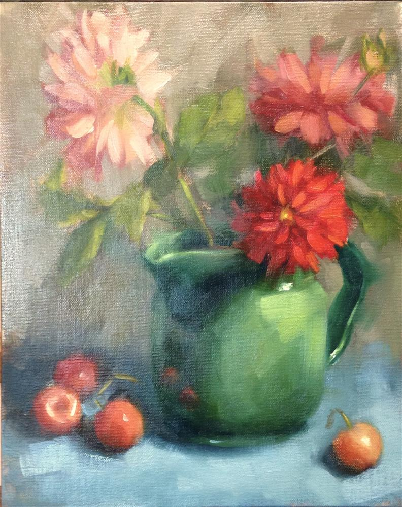 """Dahlias in July"" original fine art by Emilie Saunders"