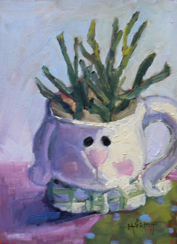 """Still Life Daily Painting, Bunny Mug, 8x6, Oil"" original fine art by Carol Schiff"