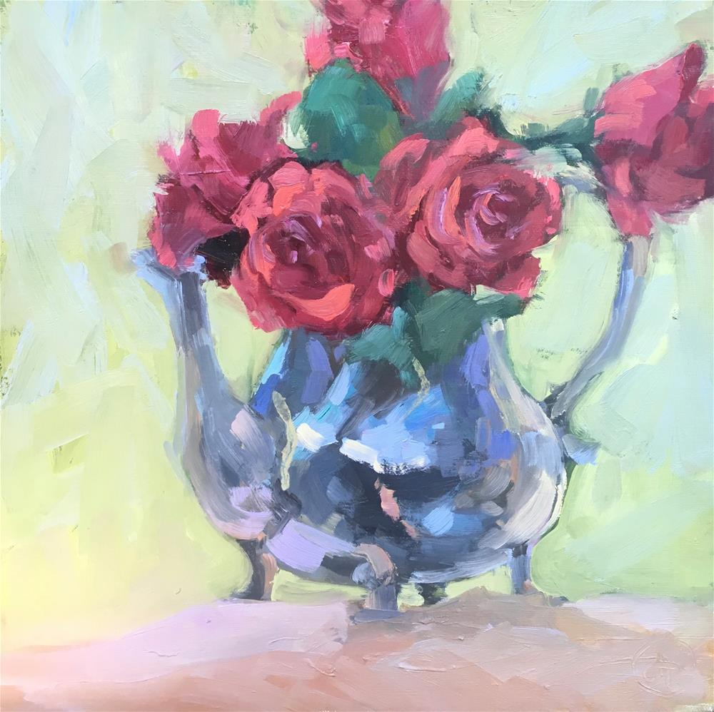 """rose petal tea"" original fine art by Dottie  T  Leatherwood"