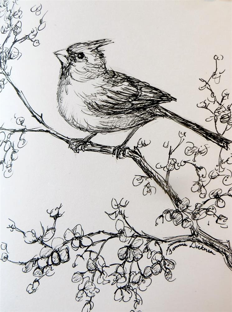 """Cardinal in the Flowering Pear"" original fine art by Tammie Dickerson"
