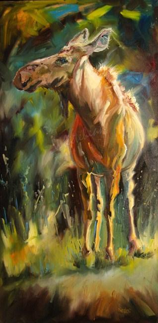 """MOOSE LOOSE animal Art D Whitehead Artoutwest Wildlife oil painting"" original fine art by Diane Whitehead"